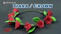 DIY How to make a Stocking flower Crown / Tiara   JK Wedding Craft 098
