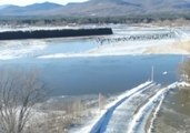 Aerial Footage Shows Maine's Saco River Flooding Following Ice Jams