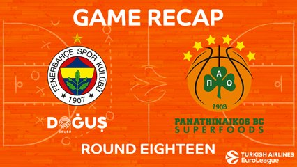 EuroLeague 2017-18 Highlights Regular Season Round 18 video: Fenerbahce 67-62 Panathinaikos