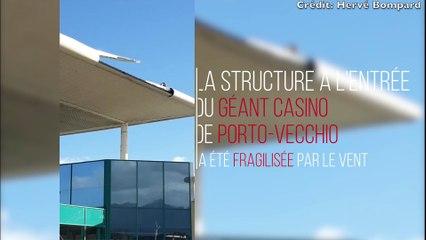 Vidéo. Tempête à Porto-Vecchio: le toit de la structure à l'entrée du Géant Casino fragilisé
