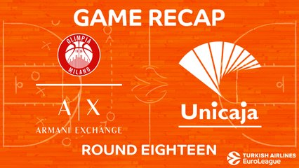 EuroLeague 2017-18 Highlights Regular Season Round 18 video: AX Milan 101-87 Unicaja