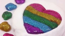 DIY How To Make Glitter Rainbow Colors Heart Slime Clay Learn Colors Slime Clay Surprise Egg Toys