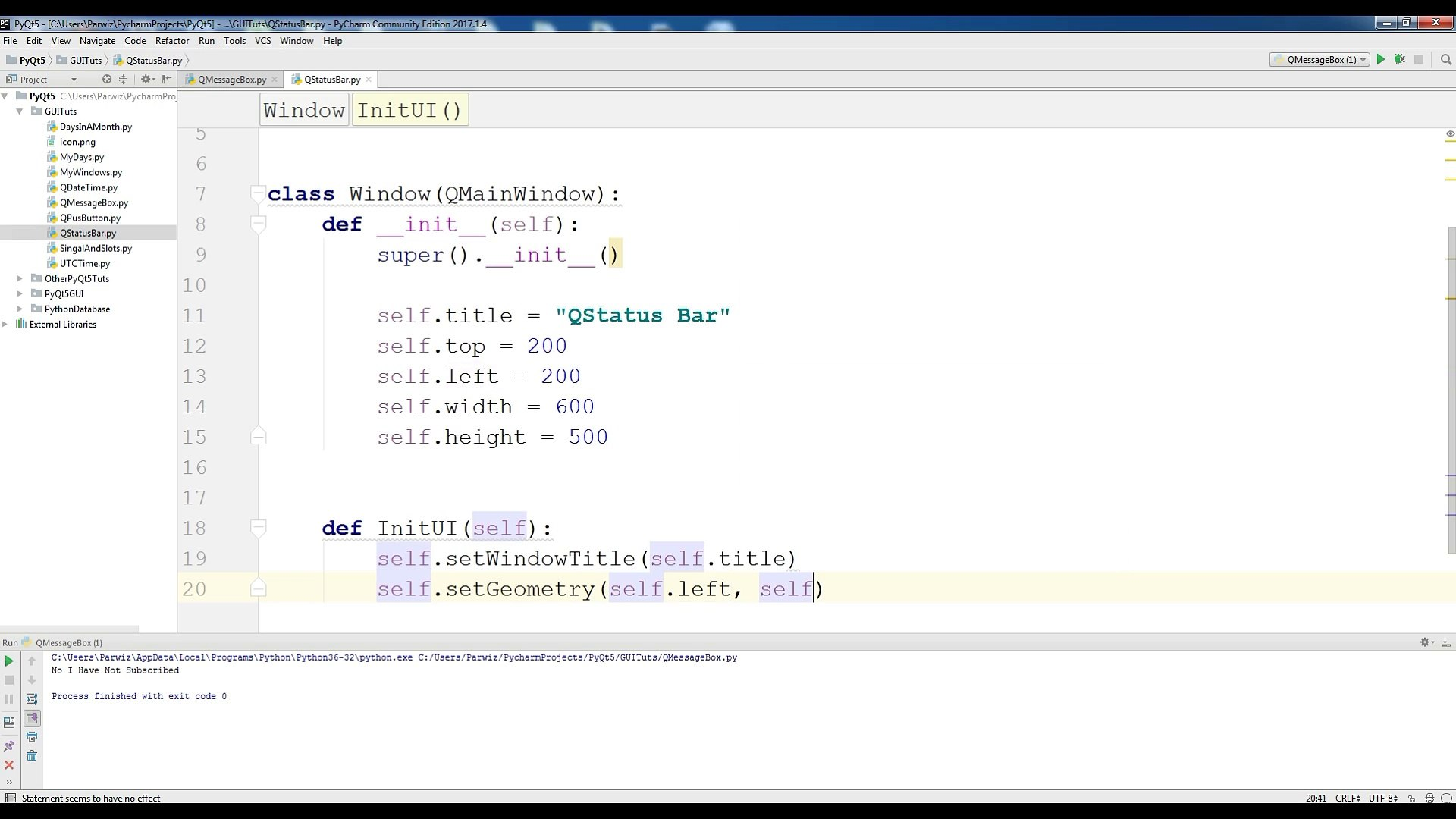 10 PyQt5 QStatusBar Python GUI Programming