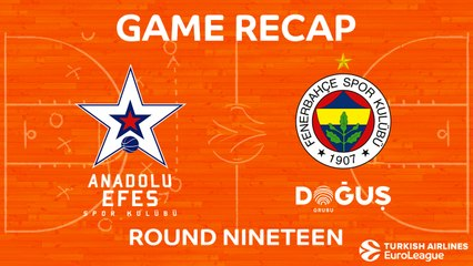 EuroLeague 2017-18 Highlights Regular Season Round 19 video: Efes 84-89 Fenerbahce
