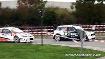 4 WRC cars racing each other in a rally - Omloop van Vlaanderen 2011 - Snijers vs Van parijs