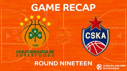 EuroLeague 2017-18 Highlights Regular Season Round 19 video: Panathinaikos 70-75 CSKA