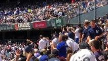 *FOOTAGE* Brett Gardner gets hit in the head with a baseball a fan threw back in the field. 8/9/15