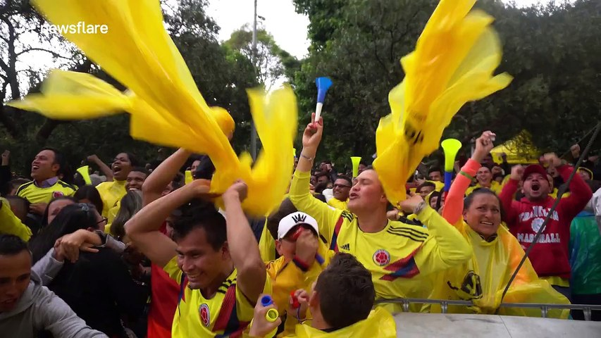 Colombian fans in Bogota go wild after last-minute equaliser against England