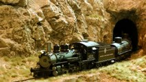 Model Train Layout with Canyon and Rocky Mountains in HO Scale