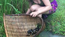 Wow! Amazing girl Fishing - How To Catch Fish By Hand using bamboo net trap - Catch A Lot Of Fish