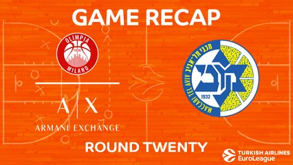 EuroLeague 2017-18 Highlights Regular Season Round 20 video: AX Milan 102-111 Maccabi