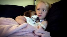 Cute Puppy Falling Asleep on Her Best Friend- Precious Moment | Puppy Lilly and Baby Laura