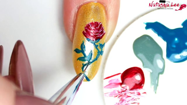 BEAUTY AND THE BEAST NAIL ART   Beauty and the Beast Nails   Belle Nails   2017 Yellow Gold Glitter