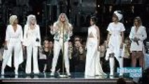 Cyndi Lauper, Camila Cabello, Julia Michaels & Andra Day Join Kesha On Stage In Support of Times Up Movement at 2018 Grammys ,  Billboard News