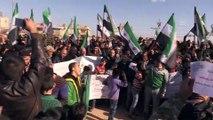 Suriyelilerden Zeytin Dalı Harekatı'na destek gösterisi - AZEZ