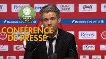Conférence de presse Stade de Reims - FC Lorient (0-1) : David GUION (REIMS) - Mickaël LANDREAU (FCL) - 2017/2018