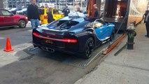 Bugatti Chiron getting unloaded in Manhattan.