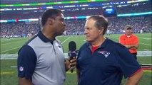 New England Patriots head coach Bill Belichick reacts to Tom Brady's suspension being lifted