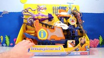 Imaginext Toys Videos DEEP SEA Mission Command Toy Boats + GIANT SQUID Toy Tested & Review Kids