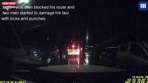 Fous de rage, deux hommes s'en prennent à un taxi (vidéo)