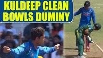 India vs South Africa 1st ODI: JP Duminy dismissed for 9, Kuldeep Yadav clean bowls him | Oneindia