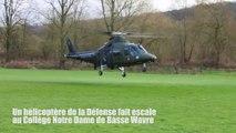 Un hélicoptère de la Défense fait escale au Collège Notre Dame de Basse Wavre