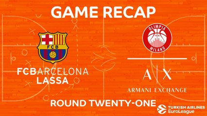 EuroLeague 2017-18 Highlights Regular Season Round 21 video: Barcelona 81-83 AX Milan