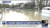 À Gournay-sur-Marne, l'eau passe par-dessus les murs anti-crue