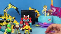 Rescue Bots Optimus Prime and Cody Burns Rescue princess Sofia who feel into a water well