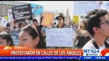 Cientos de manifestantes marcharon en Los Ángeles en rechazo a la propuesta migratoria de Trump