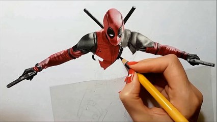 3D Colored Pencil drawing of Deadpool