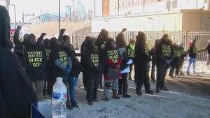 Protesters block light-rail in Minneapolis, ahead of Super Bowl