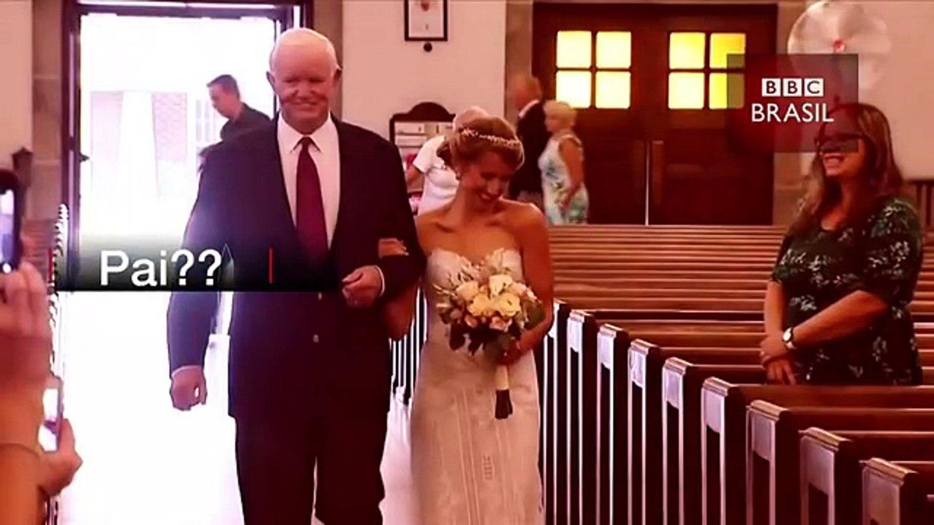Noiva é levada ao altar por homem que recebeu coração do pai dela