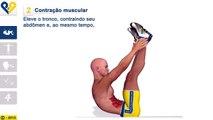 Exercícios abdominais: Supra abdominal com pernas verticais e toque dos tornozelos