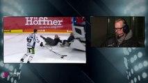 Quand des joueurs de Hockey en pleine interview se font emporter par la machine qui lisse la patinoire... Douloureux