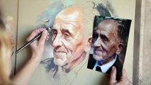 Pastel portrait, Portrait painting, Old man portrait