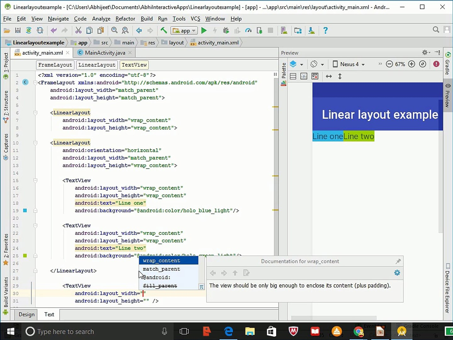 Using the linear layout | Android tutorials