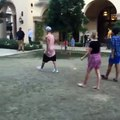 Justin Bieber playing soccer with kids in Beverly Hills, California (August 4)