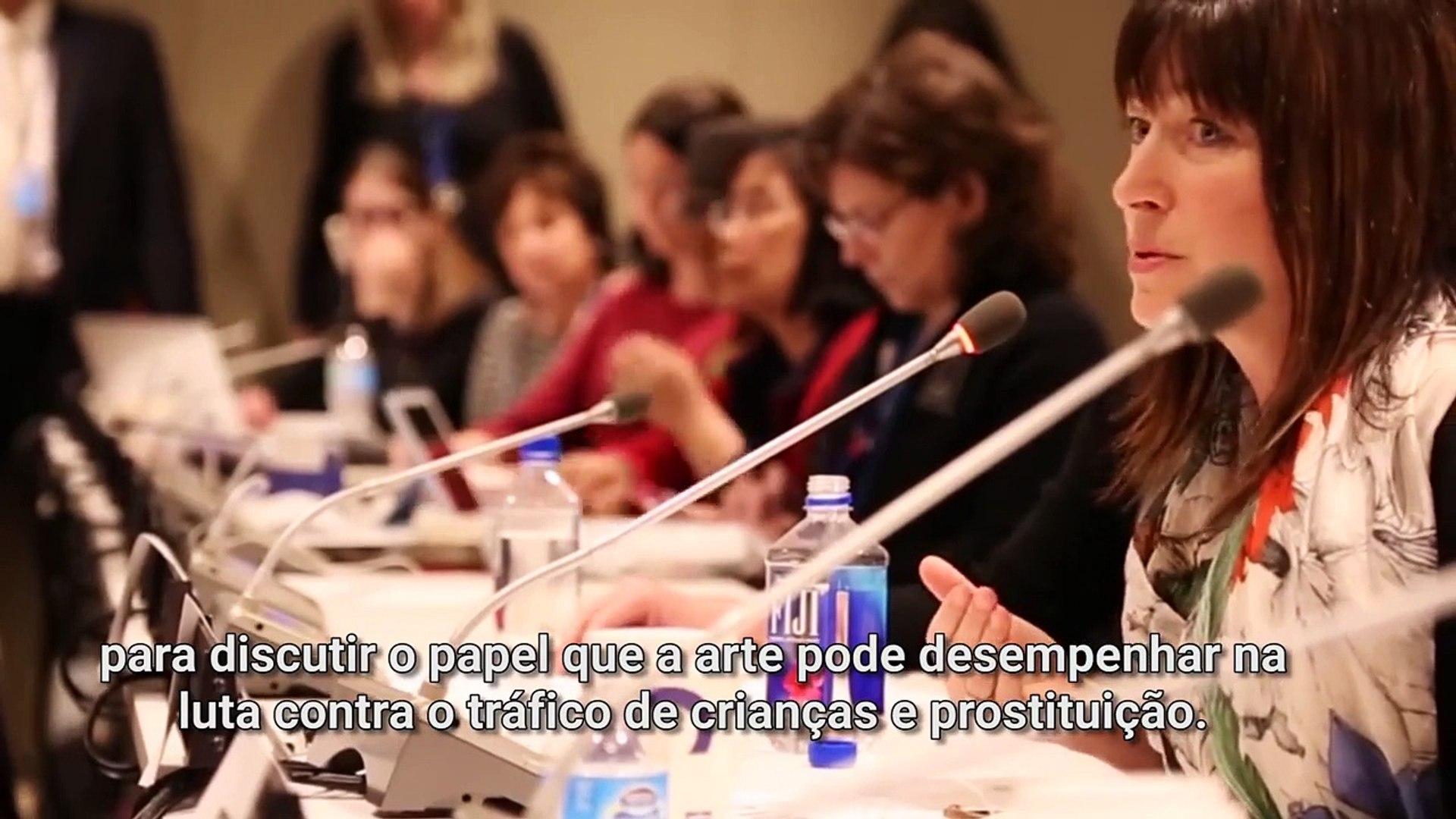 Na ONU, atriz de Arquivo-X apresenta filme sobre tráfico de seres humanos