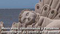 Esculturas en arena se roban la atención en una playa de Montevideo