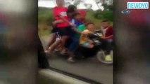 Bir motosiklete 8 kişi bindiler