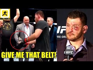 Here's the reason why Stipe Miocic Took the belt from Dana and gave it to his coach,Khabib on tony