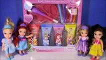 Disney Princess Bath Paint SET! Mix COLORS! Paint Princesses! Magical Bath SURPRISES! Shopkins