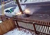 Car Slams Into Pole on Icy Street in Southington, Connecticut
