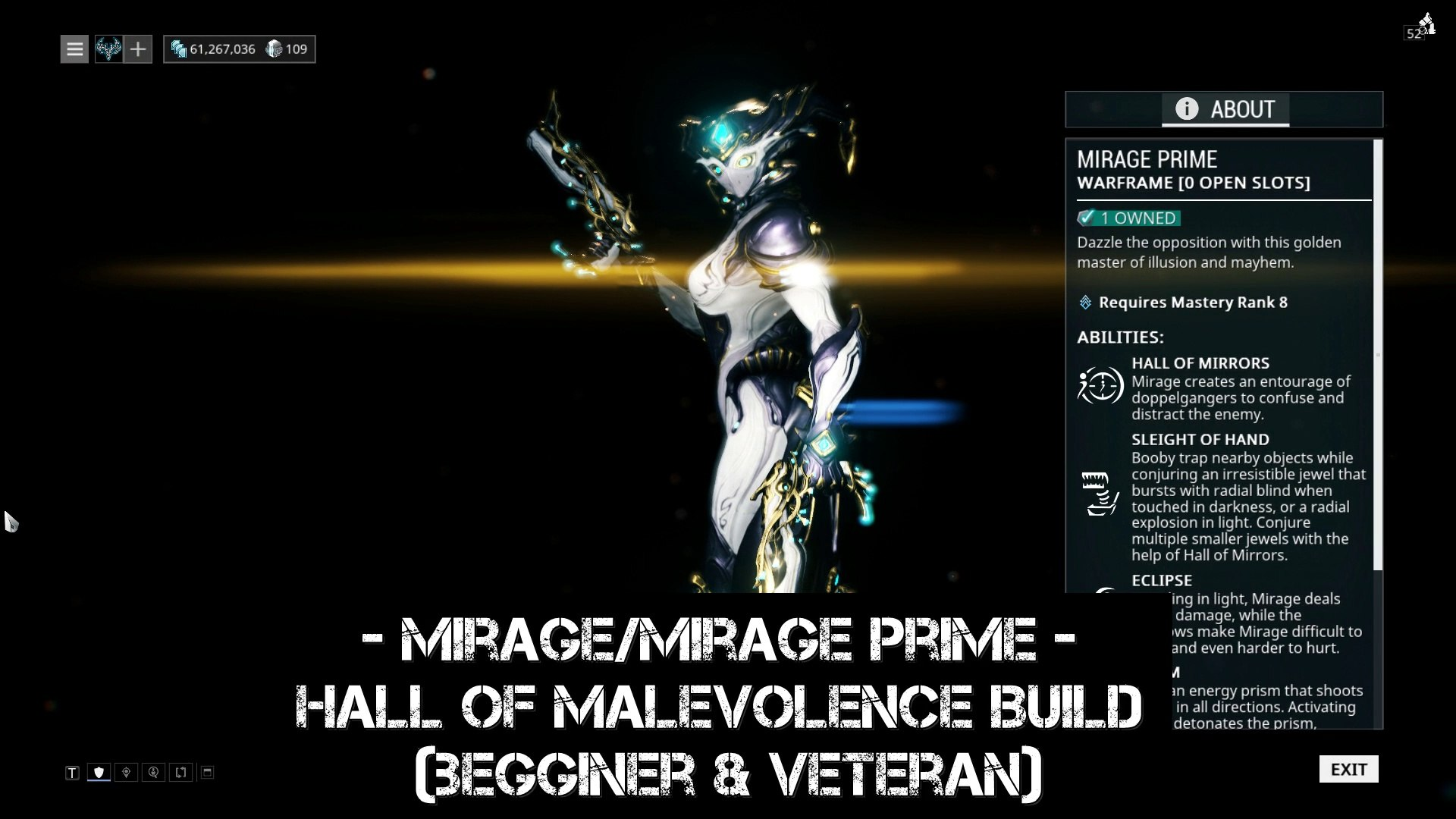 Warframe Mirage/Mirage Prime - Hall of Malevolence Build (begginer &  veteran)