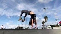 Une fille fait du roller acrobatique en legging moulant...