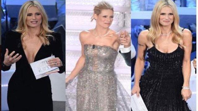 Michelle Hunziker a Sanremo con lo stesso vestito della moglie di Eros Ramazzoti, le immagini