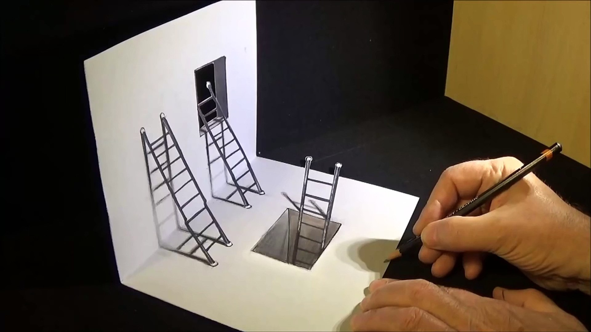 photo regarding Anamorphic Illusions Printable named How towards Attract Ladders - Drawing 3D Ladders - Optical Illusion upon Paper - VamosART
