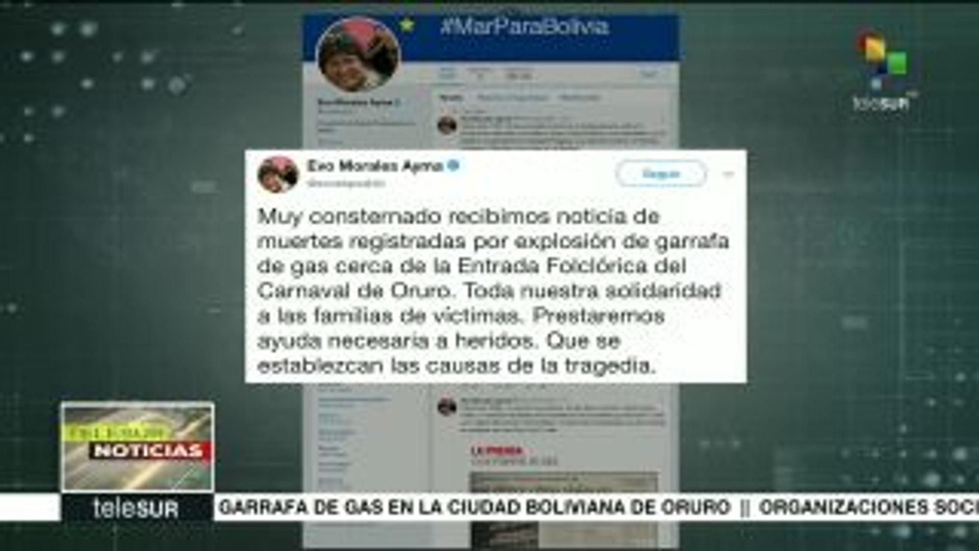 Bolivia: consternación en Oruro tras explosión de una garrafa de gas