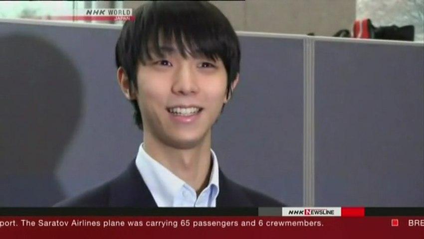 NHK Newsline 2018.02.11 - Yuzuru Hanyu arrives in South Korea (NHK WORLD TV)